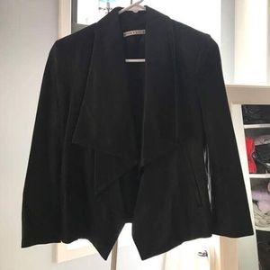 3/4 Sleeve Black Leather Jacket/Blazer